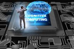 Poznawczy oblicza pojęcie jako przyszłościowa technologia z businessma ilustracja wektor