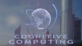 Poznawczy oblicza tekst z 3d hologramem planety ziemia przeciw t?u nowo?ytna metropolia ilustracja wektor