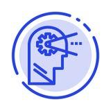 Poznawczy, proces, umysł, Kierowniczy błękit Kropkująca linii linii ikona royalty ilustracja