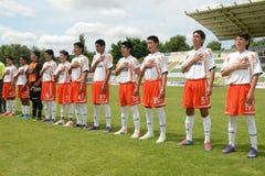 Pozo Almonte - FC Makedonija κάτω από το παιχνίδι ποδοσφαίρου 16 Στοκ Εικόνα