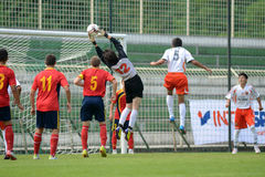 Pozo Almonte - FC Makedonija κάτω από το παιχνίδι ποδοσφαίρου 16 Στοκ φωτογραφία με δικαίωμα ελεύθερης χρήσης