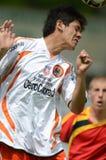Pozo Almonte - FC Makedonija bajo juego de fútbol 16 Foto de archivo