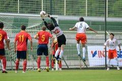 Pozo Almonte - FC Makedonija bajo juego de fútbol 16 Foto de archivo libre de regalías