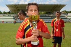 Pozo Almonte - FC Makedonija bajo juego de fútbol 16 Imagen de archivo libre de regalías
