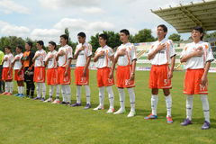Pozo Almonte - FC Makedonija onder 16 voetbalspel Stock Afbeelding