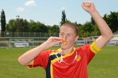 Pozo Almonte - FC Makedonija onder 16 voetbalspel Stock Fotografie