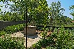 Pozo de agua y pequeño jardín alrededor de él Foto de archivo libre de regalías