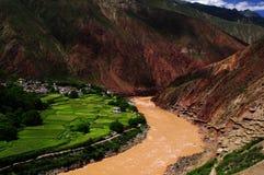Pozo de la salmuera de Tíbet Fotografía de archivo
