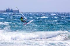风帆冲浪在Gran Canaria。 免版税库存图片