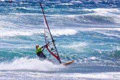 风帆冲浪在Gran Canaria。 库存图片
