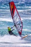 风帆冲浪在Gran Canaria。 免版税图库摄影