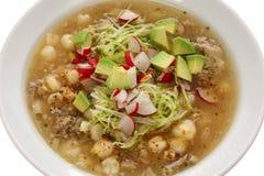 Pozole, cocina mexicana Foto de archivo libre de regalías