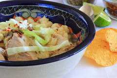 Pozole Mexican Pork and Hominy Corn soup. Pozole Mexican Pork and white hominy corn soup, traditional dish Stock Images