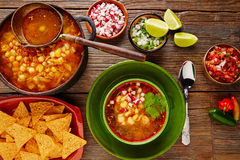 Pozole with mote big corn stew from Mexico. With ingredients and appetizer Stock Photography