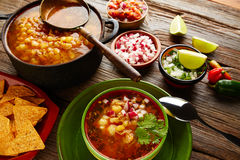 Pozole with mote big corn stew from Mexico. With ingredients and appetizer Stock Photo