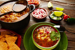 Pozole with mote big corn stew from Mexico. With ingredients and appetizer Royalty Free Stock Photography