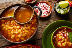 Pozole with mote big corn stew from Mexico Stock Photos