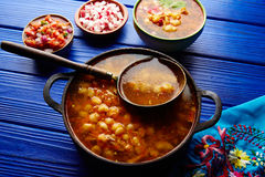 Pozole with mote big corn stew from Mexico Royalty Free Stock Image