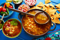 Pozole with mote big corn stew from Mexico. With ingredients and appetizer Royalty Free Stock Photo