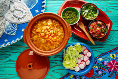 Pozole with mote big corn stew from Mexico. With ingredients and appetizer Royalty Free Stock Image