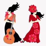 Pozują przeciw lekkiemu tłu dwa czarnogłowej Hiszpańskiej kobiety jest ubranym długie suknie flamenco tancerz i gitarzysta - ilustracja wektor