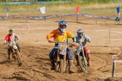 Pozvolev Igor 72. SERPUKHOV, RUSSIA - OCTOBER 7, 2017: Pozvolev Igor` 72,  Class Hobby MOTOCROSS, in the 4 stage  MX series, the Red Wings Cup 2017 super country Royalty Free Stock Photos