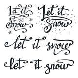 Pozwalać mnie śnieżne kaligraficzne ceduły ustawiać Zdjęcia Stock