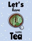 Pozwala my mieć niektóre tes herbata zio?owa kubki Ręka rysująca kreskówka stylu herbaty pocztówka ilustracji