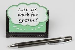 Pozwala my pracować dla ciebie pisać na mowa bąblu Zdjęcie Royalty Free