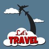 Pozwala ` s podróży tekst projektować ilustrację Fotografia Royalty Free