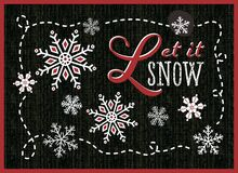 Pozwalają mnie śnieżni płatki śniegu na błyskotliwości czernią chalkboard Fotografia Royalty Free