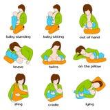 Pozy dla breastfeeding Kobieta breastfeeding a ilustracja wektor