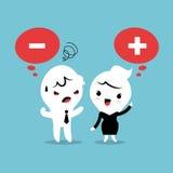 Pozytywna i Negatywna myśląca kreskówka Zdjęcie Stock