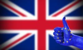 Pozytywna postawa Europejski zjednoczenie dla Zjednoczone Królestwo Fotografia Stock