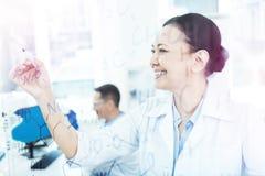 Pozytywna przyjemna mądrze kobieta studiuje chemiczną formułę fotografia stock
