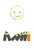 Pozytywny myślący smiley koloru i twarzy ołówek. St Zdjęcie Royalty Free