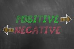 Pozytywny negatywny tekst z strzała na blackboard zdjęcia royalty free