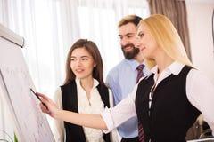 Pozytywu drużynowy spotkanie, flipchart prezentacja zdjęcie stock