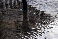 Pozze di acqua su Venezia Immagine Stock