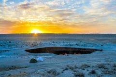 Pozzo 21 del cratere del gas di Darvaza fotografia stock
