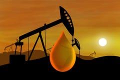 Pozzo di petrolio e goccia dell'olio Fotografia Stock