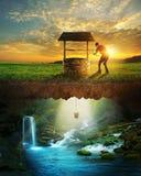 Pozzo ed acqua Fotografia Stock
