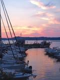 Pozzuoli hamn på solnedgången Royaltyfri Fotografi