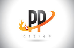 PP P Letter Logo with Fire Flames Design and Orange Swoosh. PP P Letter Logo Design with Fire Flames and Orange Swoosh Vector Illustration Stock Image