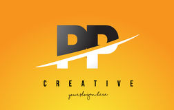 PP P Letter Modern Logo Design with Yellow Background and Swoosh Royalty Free Stock Photography