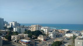 A Ppanorama on the north Tel aviv coast Royalty Free Stock Images