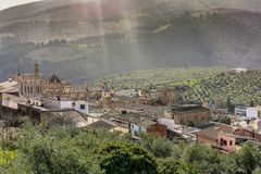 Ppanoramic view of Guadalupe in Extremadura Spain royalty free stock images