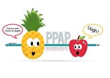 PPAP pióra Ananasowego Jabłczanego pióra Śmieszny wektor Fotografia Stock