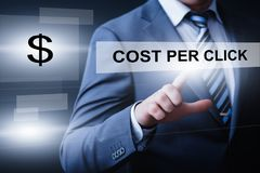 PPC薪水每个点击广告营销企业互联网技术概念 免版税库存照片