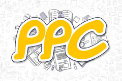 PPC - Doodle Yellow Word. Business Concept. vector illustration